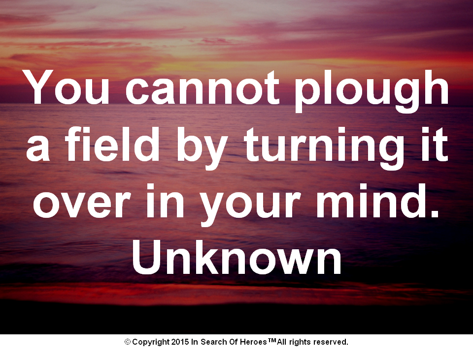 You cannot plough a field by turning it over in your mind. Unknown